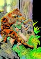 Jungle woman jungle fightingTiger pinup Colored by brianrobinson