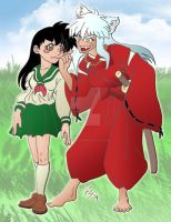 Inu Yasha and Kagome by RegineSkrydon