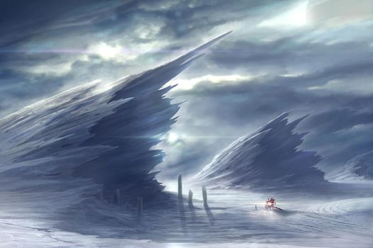 Frozen Planet Surface by NateHallinanArt