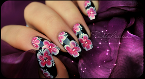 nail art one stroke yukata 2 by Tartofraises