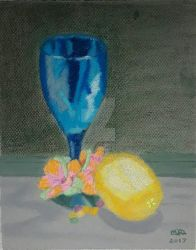 Lemon and Blue Glass by MarieRiver