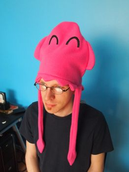 Pinky the Pink Squid fleece hat by WhimsicalSquidCo