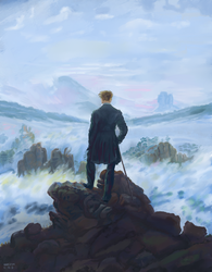 Wanderer above the sea of fog - after C.D.F. by LukeOram