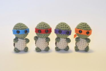 I crocheted tiny ninja turtles! by LoopTeeLoops