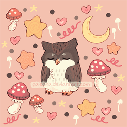 sleepy owl pattern by Paleona