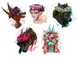 COMM: Flower crowns 1/2 by ScribbleWoof
