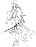 lightning ff13-2. lineart practice by artReall