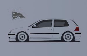 VW Golf mk4 (VW Golf series line art) by TheGiLe