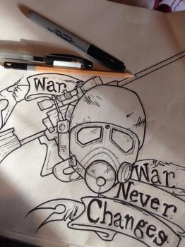 Fallout Ranger tattoo design outline by mcrmorbid