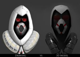 Future Assassin Drawing Vs 3d Model by Assasserik
