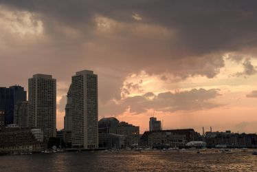 Storm Clouds and Sunset, Boston Harbor by Miss-Tbones