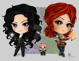 Yennefer and Triss Chibis by oOCrazyKittyOo