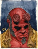 hellboy watercolour by Alentrix