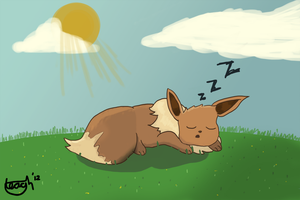 Art Trade: Dozing Eevee by tjhiphop