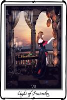 Tarot-Eight of Pentacles by azurylipfe