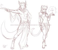 Egyptian Character Concept Sketches by Horus-Goddess