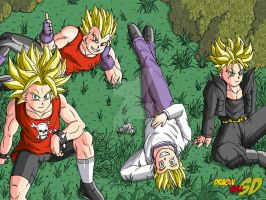 The Four Super Saiyans by PLATINUMBROLY