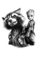 Rocket and Baby Groot by chris-kay-art