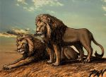 Two Old Lions by Panaiotis
