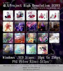 Touhou Project High Res ICONS by Alforata