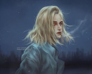 so pale in the dark of a city by NanFe