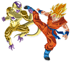 Gold Frieza vs SSJ Goku by DragonBallAffinity