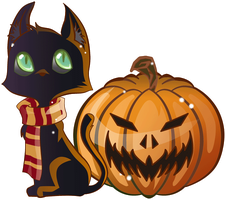 Black cat and Pumpkin - Happy halloween by Nade