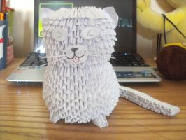 Fat White Cat - 3D Origami by SophieEkard