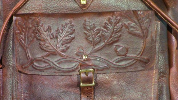 Tooled Leather Backpack: closeup 2 by DanTheLefty