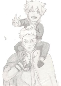 Naruto and Bolt - Sketch by IshidaYuki