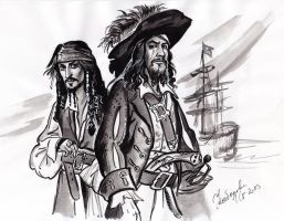 Captain Jack Sparrow and Hector Barbossa sketch. by Bormoglot