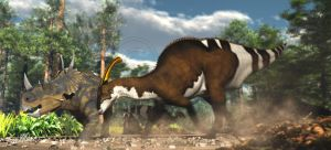 Spinops and Parasaurolophus nesting ground by PaleoGuy