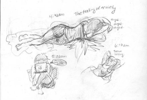 Series of sketches on anxiety by Savay