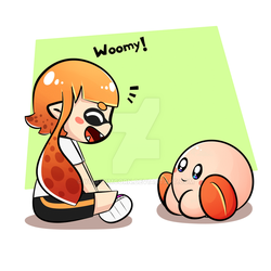 Kirby and inkling by YumYumCorn