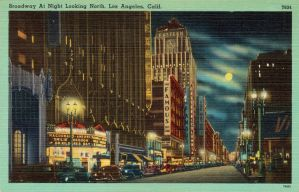 Night Scene Postcards - Broadway, Los Angeles CA by Yesterdays-Paper