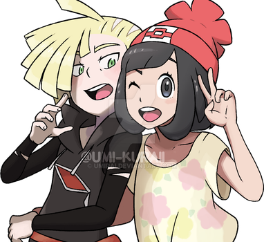 Gladion and Moon  couple Lonashipping by oce-sky62