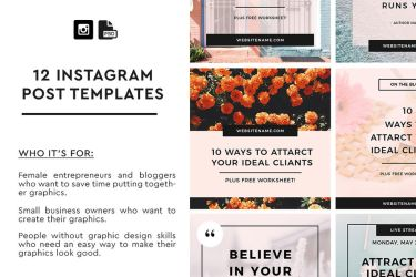 12 Instagram Post Templates by khaledzz9