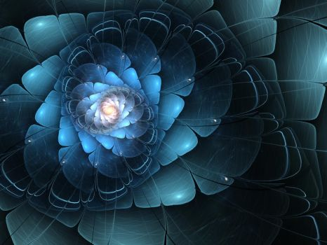Dark Blue Fractal Flower by KeilaNeokow