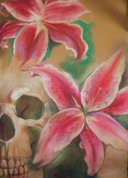 skull with lillies by anicake