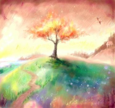 The field of colourfull fire by Bakenius