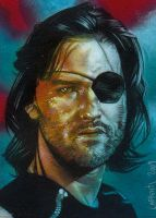 Kurt Russell As Snake Plissken Sketch card by JeffLafferty