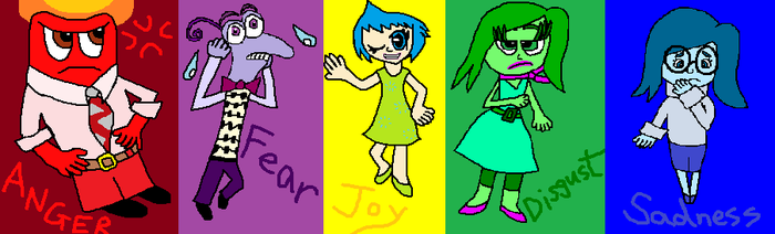 Anger, Fear, Joy, Disgust and Sadness (Inside Out) by MysticChaosEmeralds