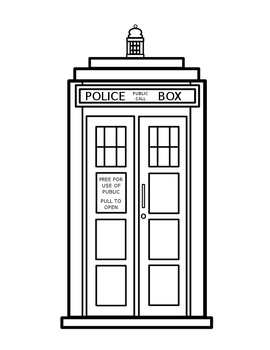 TARDIS - Colouring Coloring Page- Doctor Who by lyssagal