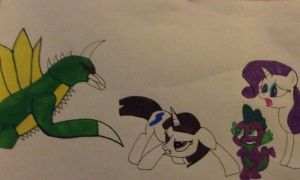 Tiff Johnson protecting her friends from Gigan by Beelzeskull06