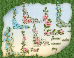 Vector Flowers Corners by roula33
