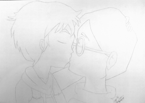 Aelita x Jeremie Passionate Kiss - Line Art by Zack-The-Great