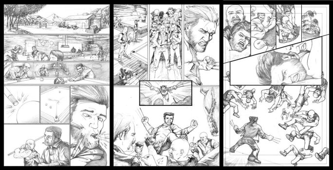 Wolverine Barfight 3 Pager - Pencils by KristofferNS