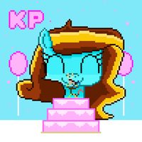 Happpy Birthday ILoveKimPossibleAlot (pixel art) by SuperHyperSonic2000