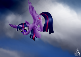Twilight's brewing up a storm by Silverwindpegasus
