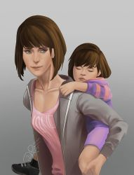 Max Caulfield and Frisk by Driggor